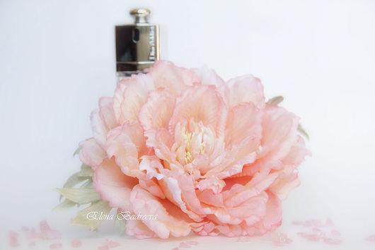 """Броши ручной работы. Ярмарка Мастеров - ручная работа. Купить Пион из шелка """"Aurora"""". Handmade. Бледно-розовый, брошь пион"""