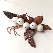 Украшения handmade. Livemaster - original item Brooch safety pin for scarf. White berries brown leaves.. Handmade.