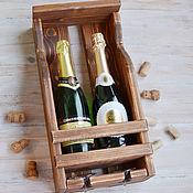 Полки ручной работы. Ярмарка Мастеров - ручная работа Винная полка деревянная Шампань на 2 винные бутылки и 2 бокала. Handmade.