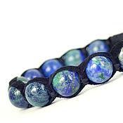 Украшения handmade. Livemaster - original item Shamballa bracelet with suede and azurite. Handmade.