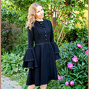 Одежда ручной работы. Ярмарка Мастеров - ручная работа Пальто трапеция черное с кружевом. Handmade.