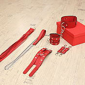 Субкультуры handmade. Livemaster - original item Leather BDSM set (Handcuffs, a gun, a dog collar and leash). Handmade.
