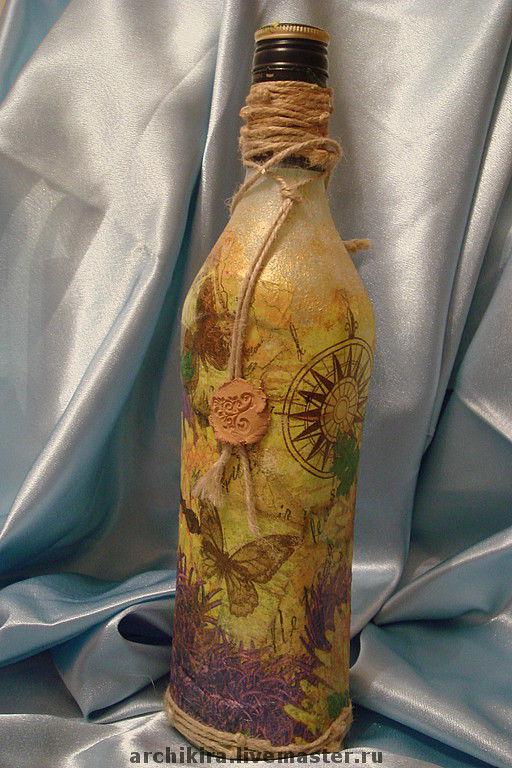 Подарочное оформление бутылок ручной работы. Ярмарка Мастеров - ручная работа. Купить Бабочка. Handmade. Краски акриловые, клей, агат