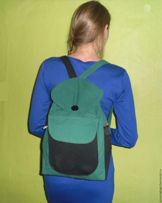 Рюкзаки ручной работы. Ярмарка Мастеров - ручная работа. Купить Зеленый рюкзак с черными вставками. Handmade. Черный, котон