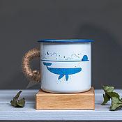 """Винтажные кружки ручной работы. Ярмарка Мастеров - ручная работа Эмалированная кружка TRAP """"Кит"""". Handmade."""