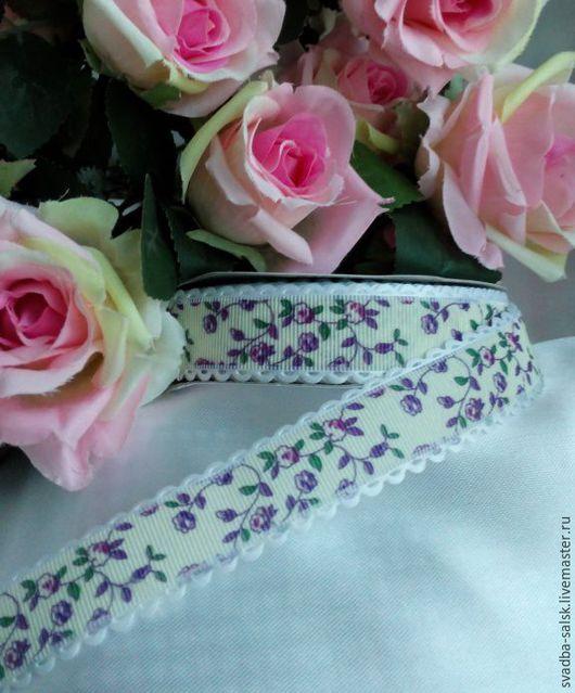 Шитье ручной работы. Ярмарка Мастеров - ручная работа. Купить Лента репсовая айвори сиреневые розы 25 мм. Handmade.