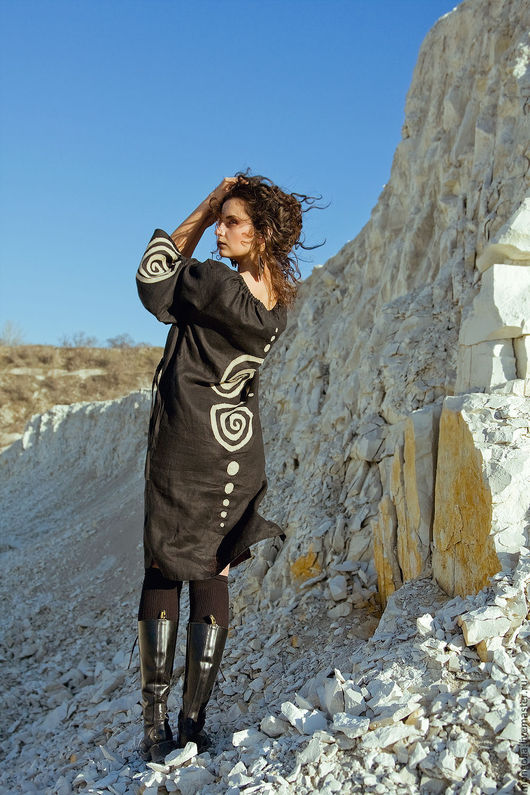 Платья ручной работы. Ярмарка Мастеров - ручная работа. Купить Этно-платье лен Black. Handmade. Платье, вечерние платья