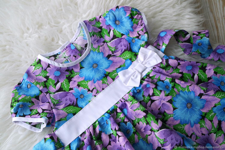Платье для девочки из хлопка, рукав колокольчик