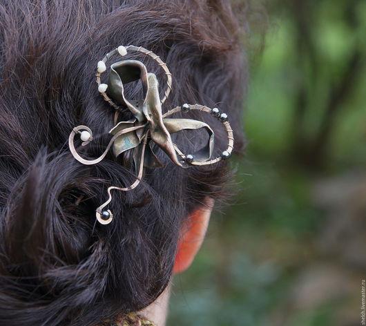 шпилька для волос бант медный бантик заколка для волос бант медная шпилька бантик из металла металлическая заколка бант с натуральным жемчугом шпилька для волос бантик заколка украшения для волос бант