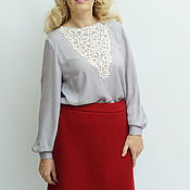 Одежда handmade. Livemaster - original item Blouse made of Italian viscose embroidered blouse Elena.. Handmade.