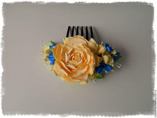 """Заколки ручной работы. Ярмарка Мастеров - ручная работа. Купить Гребень для волос """"Ванильный десерт"""". Handmade. Бежевый, заколка с цветком"""