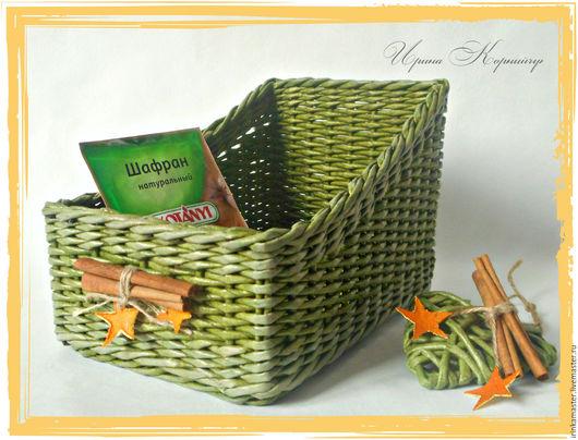 """Полки для специй ручной работы. Ярмарка Мастеров - ручная работа. Купить Плетеный короб для специй """"Green"""",плетеная корзинка.. Handmade."""