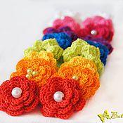 Вязание крючком цветов для резинок 7