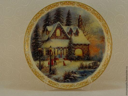 Декоративная посуда ручной работы. Ярмарка Мастеров - ручная работа. Купить Тарелка настенная Рождество 1. Handmade. Тарелка настенная