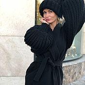 Одежда ручной работы. Ярмарка Мастеров - ручная работа Пальто черное/ рукава ручная вязка. Handmade.