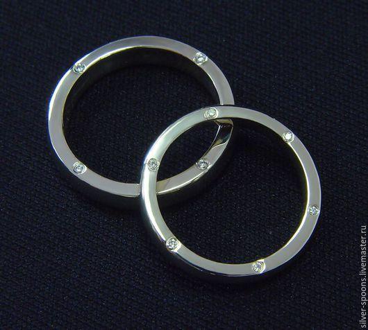Свадебные украшения ручной работы. Ярмарка Мастеров - ручная работа. Купить Обручальное кольцо из белого золота (пара обручальных колец). Handmade.