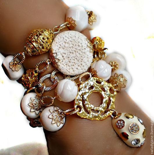 Браслеты ручной работы. Ярмарка Мастеров - ручная работа. Купить БЕЛОЕ ЗОЛОТО Браслет (КольеСерьги) белые кораллы. Handmade.
