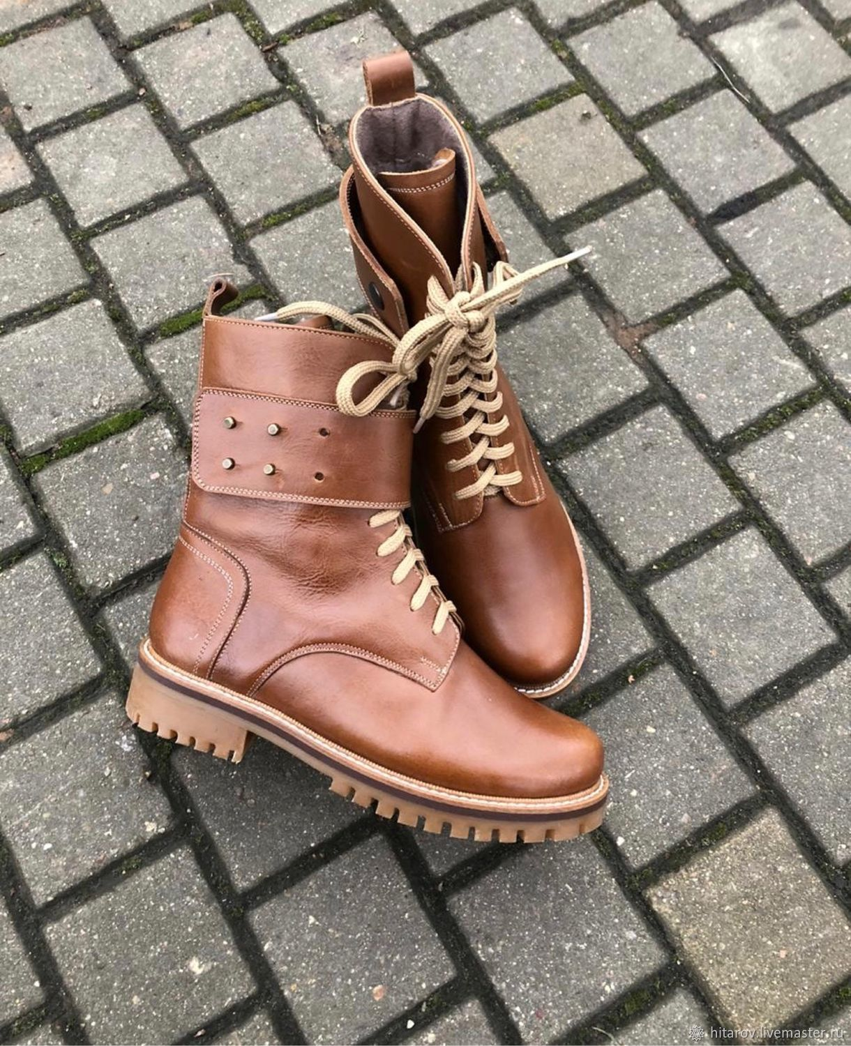 Shoes 'Spain' brown leather, beige sole, Boots, Moscow,  Фото №1
