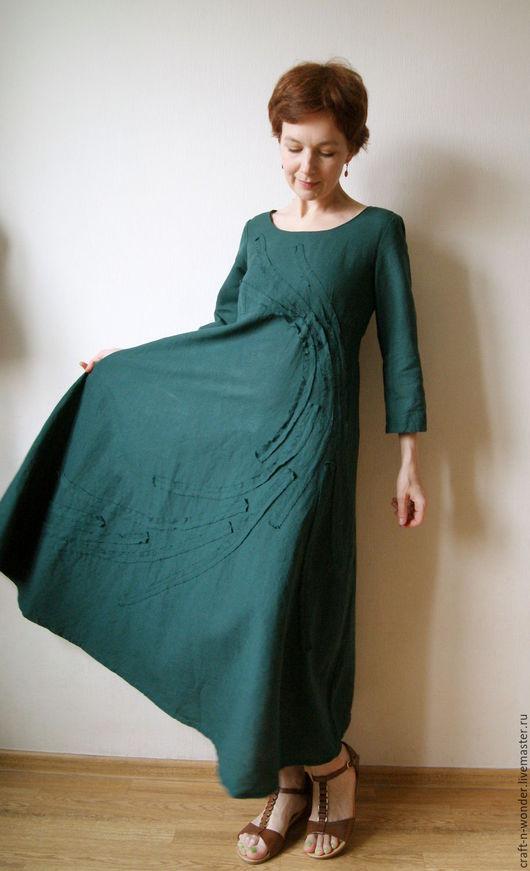 """Платья ручной работы. Ярмарка Мастеров - ручная работа. Купить Платье льняное """"Ветер в сосновых иглах"""". Handmade. Тёмно-зелёный"""