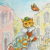 Картины и панно handmade. Livemaster - original item Mother cat and butterfly in Venice Reproduction by Painting Print. Handmade.