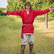 """Русский стиль ручной работы. Ярмарка Мастеров - ручная работа Рубаха """"Одолень-трава""""  красная. Handmade."""