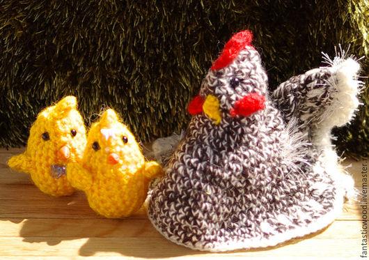 """Игрушки животные, ручной работы. Ярмарка Мастеров - ручная работа. Купить Курочка """"Ряба"""" и цыплята. Handmade. Комбинированный, цыпленок, бусины"""