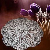 Для дома и интерьера handmade. Livemaster - original item Crocheted napkin round large openwork White tenderness for home cottage. Handmade.
