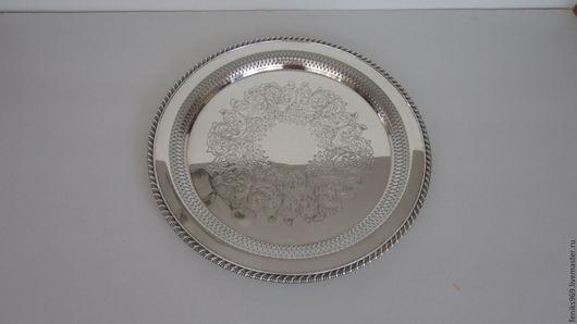 Винтажная посуда. Ярмарка Мастеров - ручная работа. Купить Большое круглое блюдо.. Handmade. Серебряный, круглое блюдо, серебро