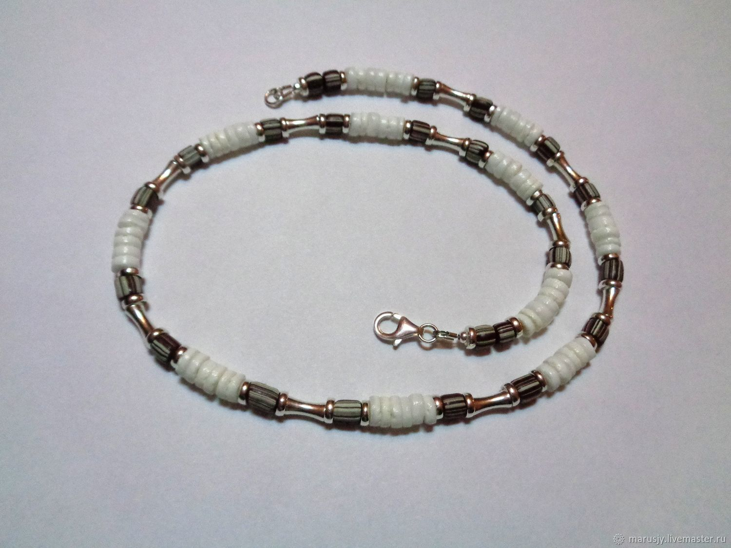 Men's choker made of 925 silver, shells and African glass beads, Bead bracelet, Sergiev Posad,  Фото №1