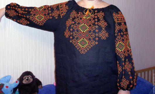 Блузки ручной работы. Ярмарка Мастеров - ручная работа. Купить Вышитая сорочка. Handmade. Черный, вышивка, вышивка ручная