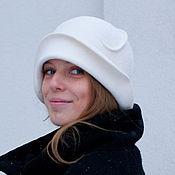 Аксессуары ручной работы. Ярмарка Мастеров - ручная работа шляпа клош белый велюр. Handmade.
