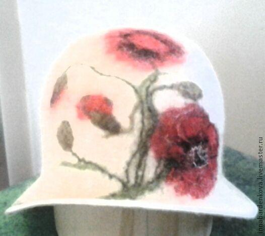 """Банные принадлежности ручной работы. Ярмарка Мастеров - ручная работа. Купить шляпка  """" Маки """" для Ирины. Handmade. Белый"""