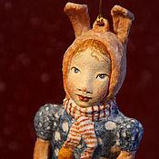 Подарки к праздникам ручной работы. Ярмарка Мастеров - ручная работа Ватная игрушка на ёлку Зайка. Handmade.