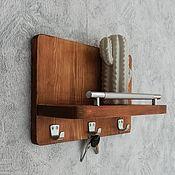 Для дома и интерьера handmade. Livemaster - original item Key holders wall: Key holder with shelf made of wood. Handmade.