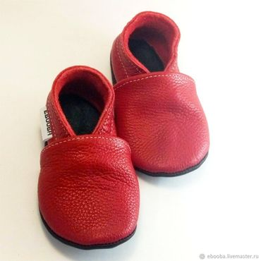 Footwear handmade. Livemaster - original item Red Baby Shoes,Leather Baby Shoes,Baby Moccasins,Ebooba. Handmade.