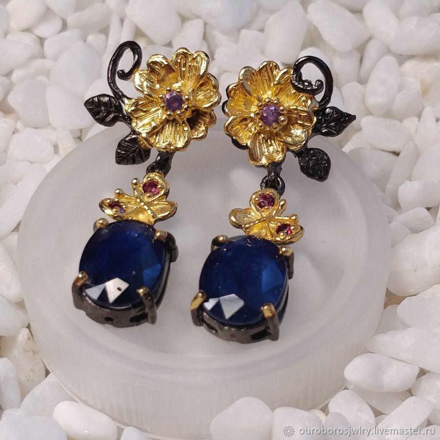 Silver earrings with sapphire, Earrings, Novosibirsk,  Фото №1