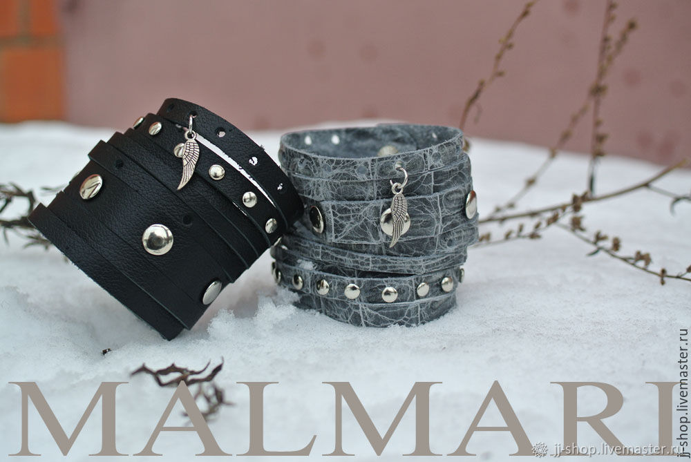 Черный Кожаный браслет с заклёпками (black_Cuff)