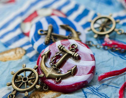 """Броши ручной работы. Ярмарка Мастеров - ручная работа. Купить Брошь """"Якорь"""". Handmade. Море, морской стиль, полосатый"""