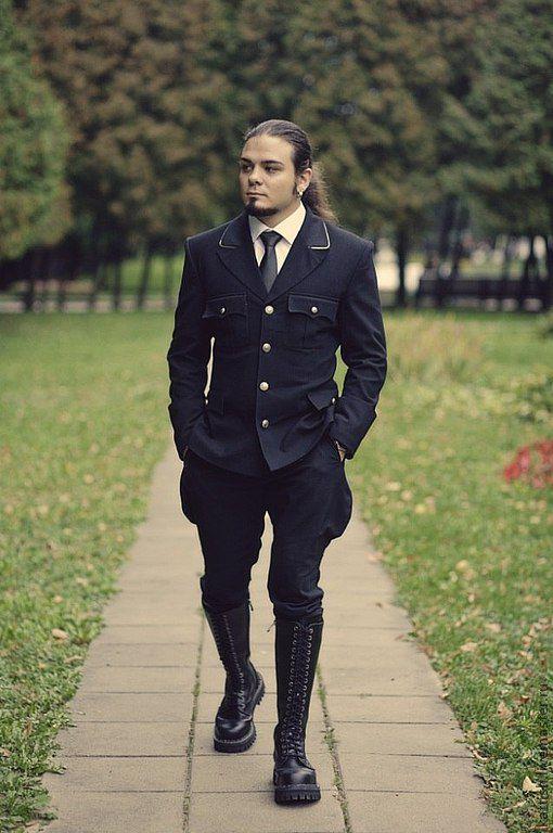 Для мужчин, ручной работы. Ярмарка Мастеров - ручная работа. Купить Свадебный мужской костюм. Handmade. Черный, косплей, габардин