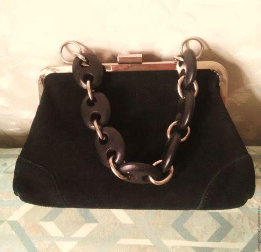 Винтажные сумки и кошельки. Ярмарка Мастеров - ручная работа. Купить сумочка замша винтаж. Handmade. Черный, сумочка ручной работы