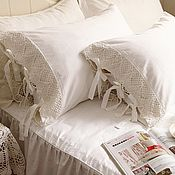 handmade. Livemaster - original item Bed linen with knitted lace