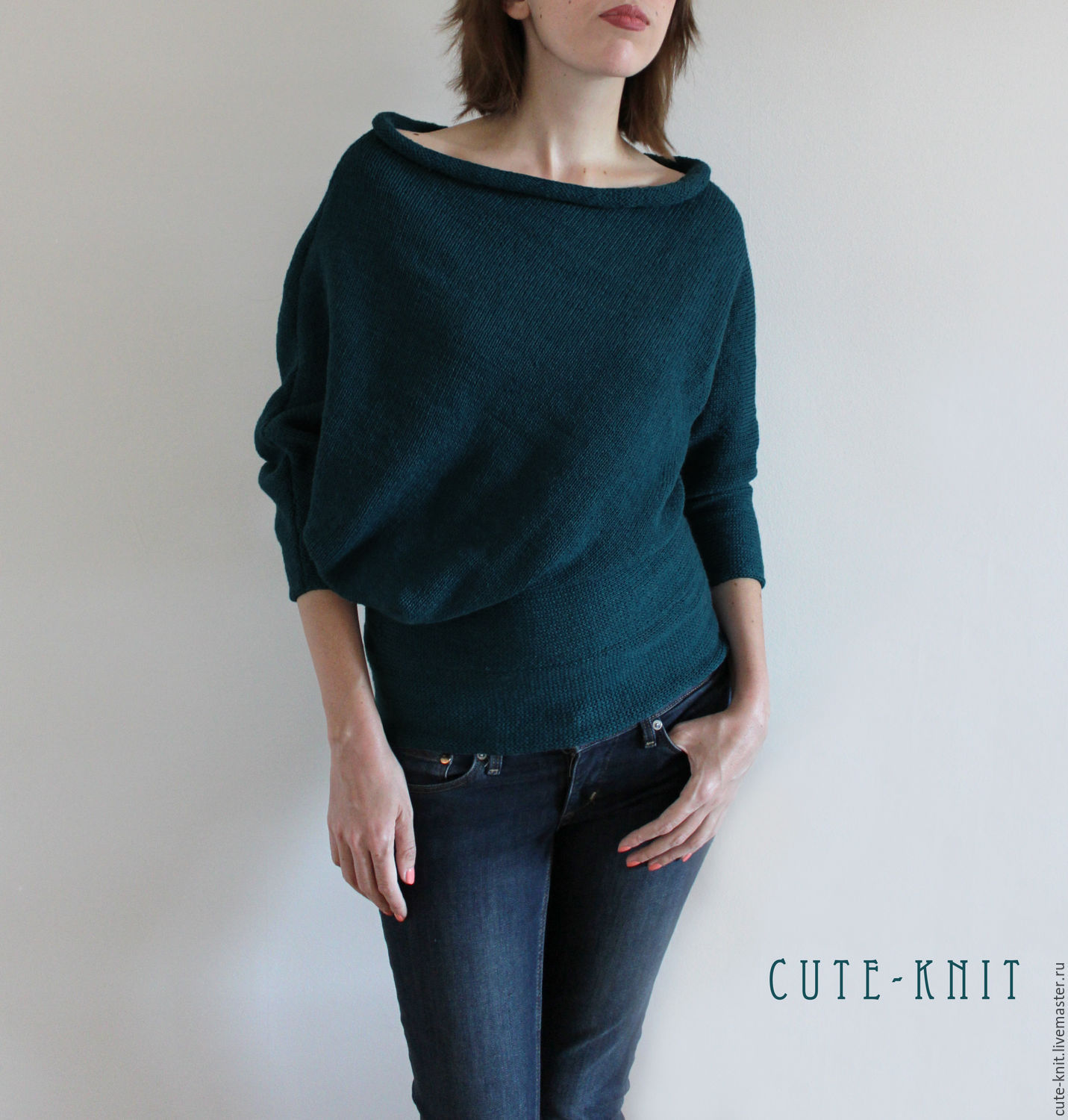 To better visualize the model, click on the photo and zoom in CUTE-KNIT NAT Onipchenko Fair Masters to Buy knitted asymmetrical sweater sea green