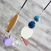 """Подвеска ожерелье из дерева """" Геометрия/Азбука"""""""