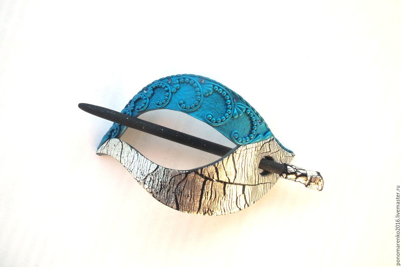 The little Mermaid hair clip (brooch, shawl pin, blue), Hairpins, Salsk,  Фото №1