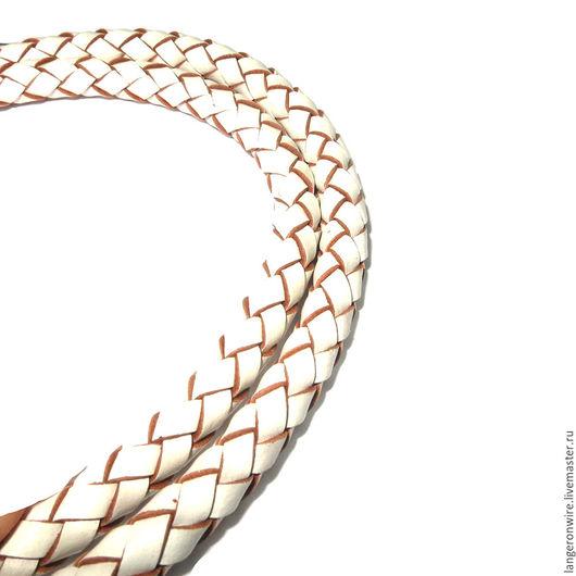 Для украшений ручной работы. Ярмарка Мастеров - ручная работа. Купить Шнур кожаный плетеный 6,5 мм. Цвет - белый. Handmade.