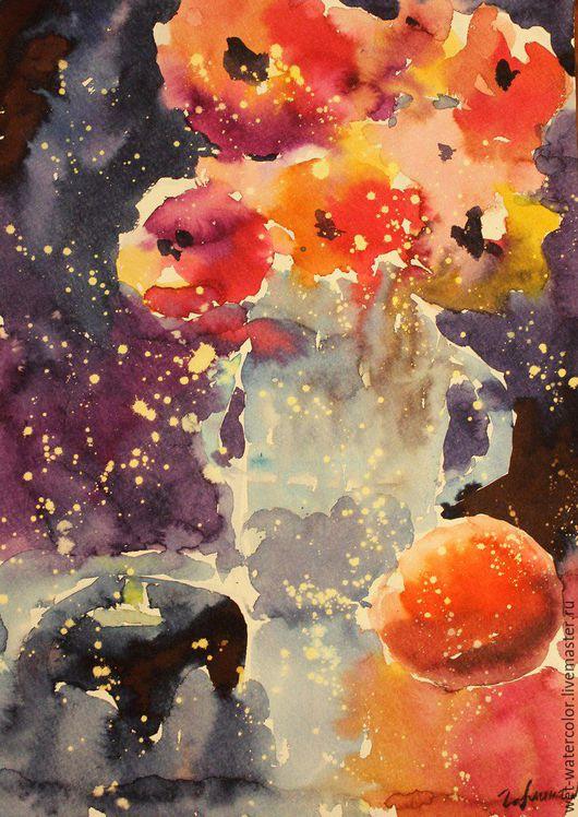 Картины цветов ручной работы. Ярмарка Мастеров - ручная работа. Купить Ночной натюрморт. Handmade. Разноцветный, цветы, свеча