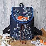"""Рюкзаки ручной работы. Ярмарка Мастеров - ручная работа Льняной рюкзак """"Зимний сон"""". Handmade."""