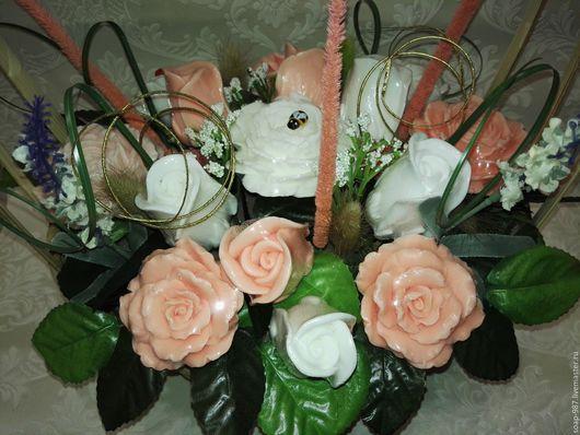 Мыло ручной работы. Ярмарка Мастеров - ручная работа. Купить букет из 15 роз в корзине. Handmade. Комбинированный, розы в корзине
