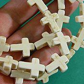 Материалы для творчества handmade. Livemaster - original item Cross for jewelry, Howlit, 15 x 12 x 4 mm. for PCs. Handmade.
