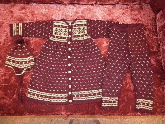 Одежда для девочек, ручной работы. Ярмарка Мастеров - ручная работа. Купить детский сарафан. Handmade. Бордовый, вязание для детей, шерсть